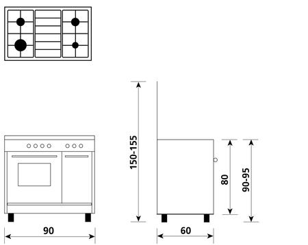 Disegno tecnico Forno Gas + Grill Elettrico + Ventola - AR964VI - Glem Gas