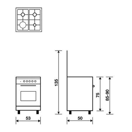 Desenho técnico Static gas oven - electric grill - GCA55FWHN - Glem Gas