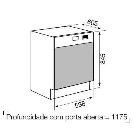 Desenho técnico Máquina de lavar louça de linha livre - GDF645SI - Glem Gas