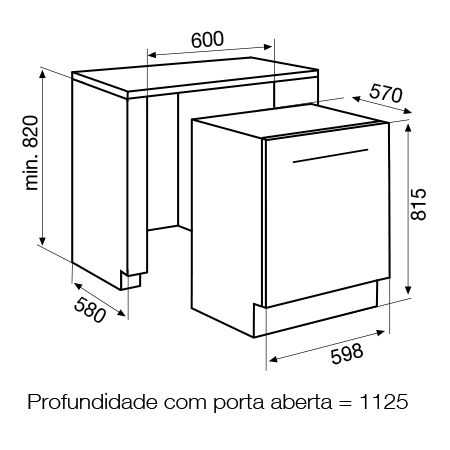 Desenho técnico Máquina de lavar louça totalmente integrável - GDI625 - Glem Gas