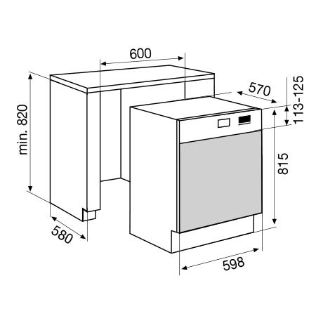 Desenho técnico Máquina de lavar louça semi-integrável  - GDS645IX - Glem Gas