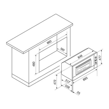 Disegno tecnico Forno elettrico multifunzione - GFE993IX     - Glem Gas