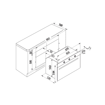 Technical drawing Static Gas oven / Grill electric - GF9F21BKN - Glem Gas