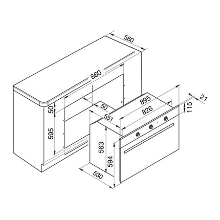 Technical drawing Static Gas Oven / Grill electric - GF9F21IXN - Glem Gas