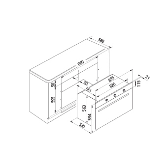 Technical drawing Static Gas Oven / Gas grill - GF9G21BKN - Glem Gas