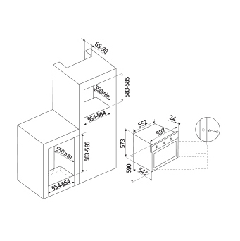 Technical drawing Gas oven fan assisted - GFEV21IX - Glem Gas