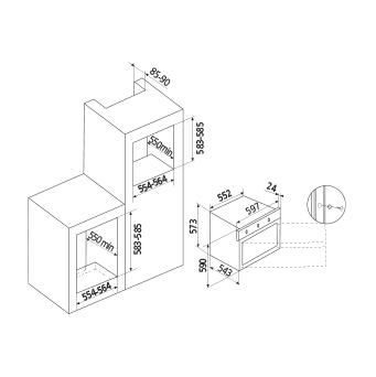 Technical drawing Gas Oven / Gas Grill + fan - GFEW21IX - Glem Gas