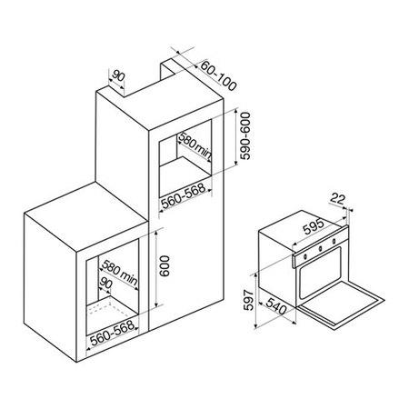 Desenho técnico Forno elétrico multifunções - GFLP83IXN - Glem Gas