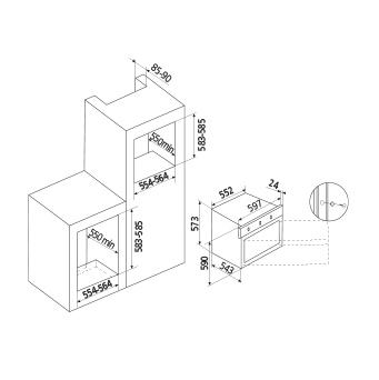 Diseño técnico Horno multifunción 5 funciones - GFM52IX - Glem Gas