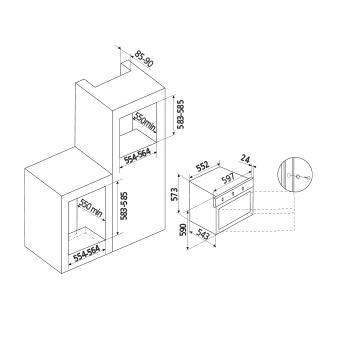 Dessin technique Four gaz - Gril électrique - GFMF21IX - Glem Gas