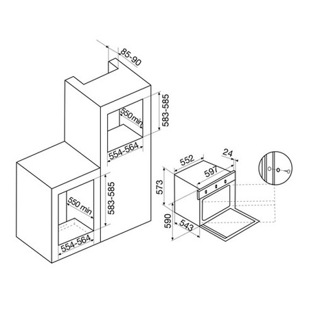 Technical drawing Static Gas Oven / Electric Grill - GFMF21WH - Glem Gas
