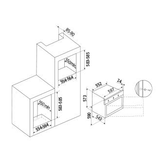 Dessin technique Four gaz - Gril électrique - GFMF21WH - Glem Gas