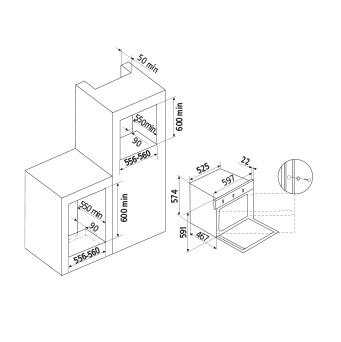 Diseño técnico Horno a gas estático / Grill a gas - GFMG21BK - Glem Gas
