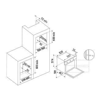Diseño técnico Horno a gas estático / Grill a gas - GFMG21WH - Glem Gas