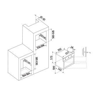 Technical drawing Multifunctions Oven 13 functions - GFP16IX - Glem Gas