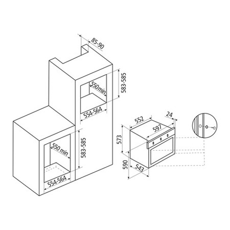 Technical drawing Oven Multifunction - GFP93BK - Glem Gas