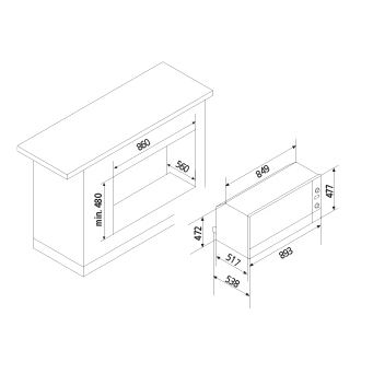 Technical drawing Multifunction Oven 9 Functions - GFP993IX - Glem Gas