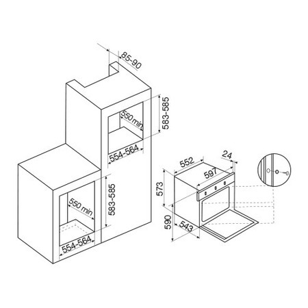 Disegno tecnico Forno multifunzione elettrico e a gas ventilato - GFSV21IX-S2 - Glem Gas