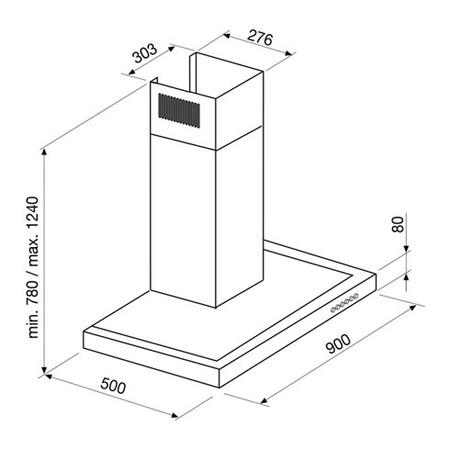 Dessin technique HOTTE MURALE BOX 90 CM - GHB971IX - Glem Gas