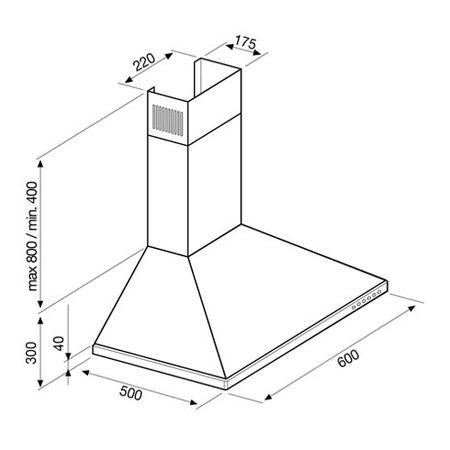 Desenho técnico Chaminé de parede - GHD671IX - Glem Gas