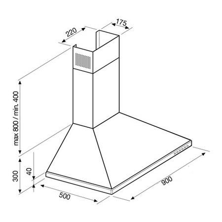 Desenho técnico Chaminé de parede - GHD971IX - Glem Gas
