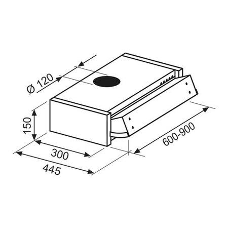 Disegno tecnico Cappa Sottopensile Estraibile 90 cm - GHE901SI - Glem Gas