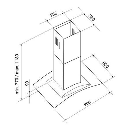 Desenho técnico Chaminé ilha - GHI910IX - Glem Gas