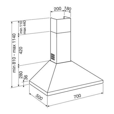 Disegno tecnico Cappa Wall 70 cm - GHP74IX - Glem Gas