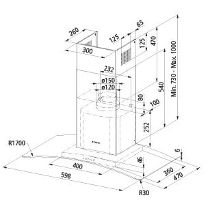 Diseño técnico Campana de vidrio a pared de 60 cm - GHS68IX - Glem Gas