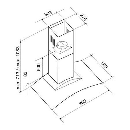 Disegno tecnico Cappa a parete vetro 90 CM - GHS971IX - Glem Gas