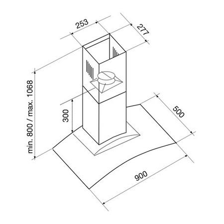 Technical drawing Hoods Wall 90 cm - GHS98IX - Glem Gas