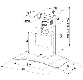 Technical drawing Wall Glass hood 90 cm - GHS98IX - Glem Gas