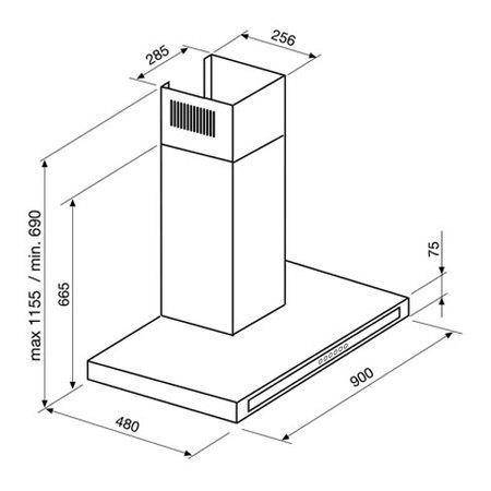 Desenho técnico Chaminé de parede - GHW990IX - Glem Gas