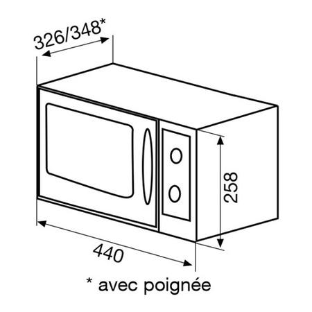 Dessin technique MICRO-ONDES GRIL POSE LIBRE - GMF202WH - Glem Gas