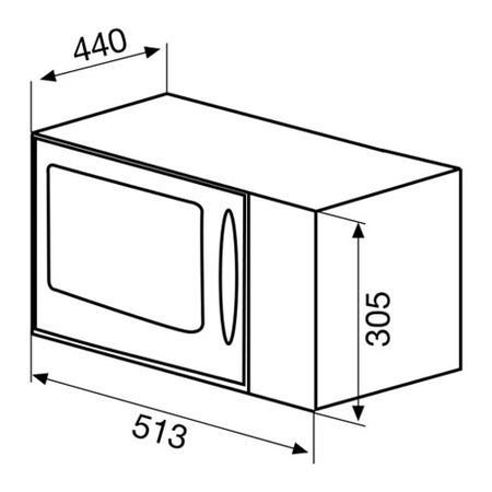 Desenho técnico Forno micro-ondas de linha livre - GMF254IX - Glem Gas