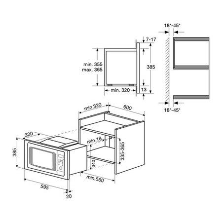 Desenho técnico Forno micro-ondas de integrar - GMI203IX - Glem Gas