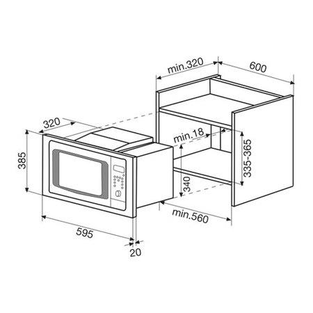 Disegno tecnico Forno microonde con grill - GMI203IX - Glem Gas
