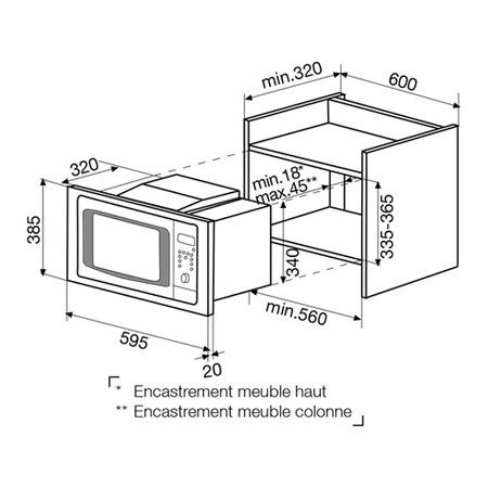 Dessin technique Micro-ondes gril intégrable meuble haut inox - GMI203IX - Glem Gas