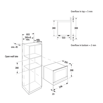 Technical drawing Built in microwave oven Black - GMI253BK - Glem Gas