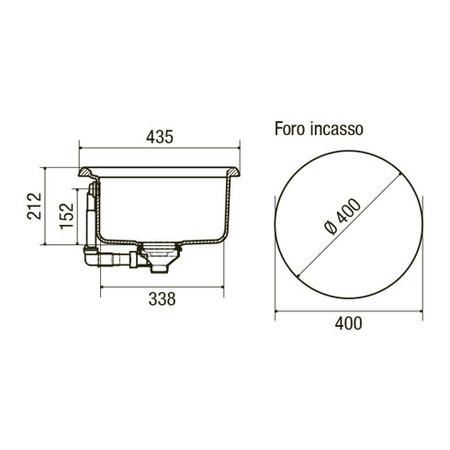 Disegno tecnico Lavello Origine - GPLO43BK - Glem Gas