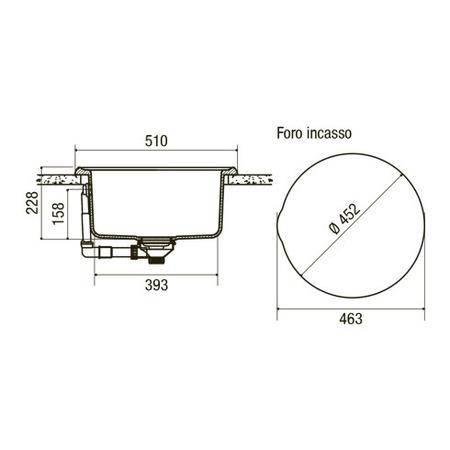 Disegno tecnico Lavello Origine - GPLO51CM - Glem Gas