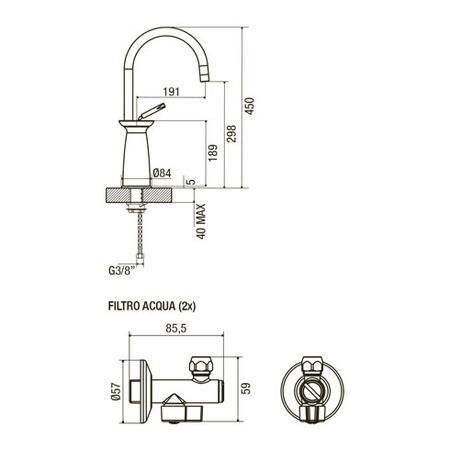 Disegno tecnico Miscelatore Origine - GPMIXOBK - Glem Gas
