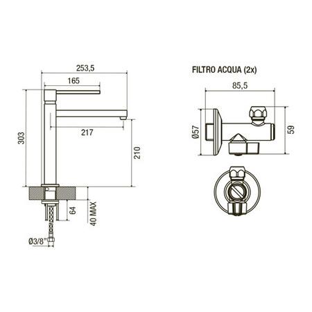 Disegno tecnico Miscelatore Quadro - GPMIXQIX - Glem Gas