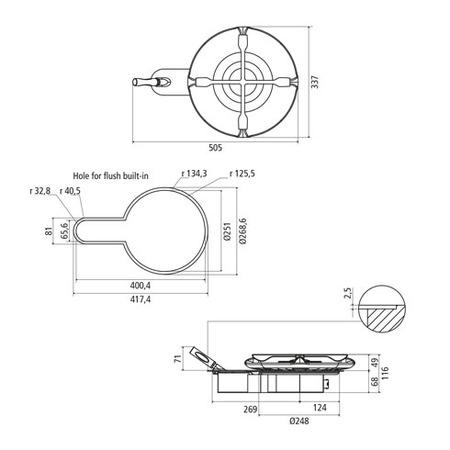 Disegno tecnico Monofuoco Origine - GPMO1SIX - Glem Gas