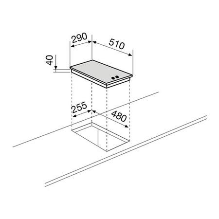 Dessin technique Domino électrique inox - GT320IX - Glem Gas