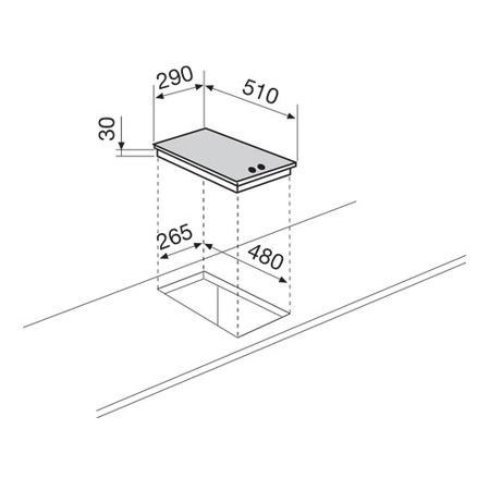 Technical drawing Domino electric Hob 30 cm - GT320IX - Glem Gas