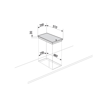 Technical drawing 30 cm electric hob - GT320IX - Glem Gas