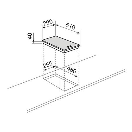Dessin technique Domino électrique émaillé blanc - GT320WH - Glem Gas