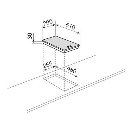 Disegno tecnico Piano cottura da 30 cm - GT32SA - Glem Gas