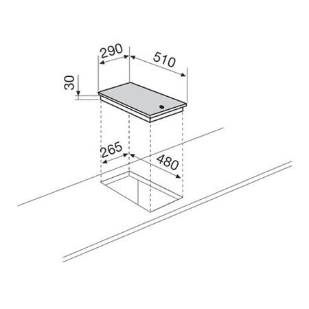 Technical drawing Domino electric 30 cm - GT3BIX - Glem Gas